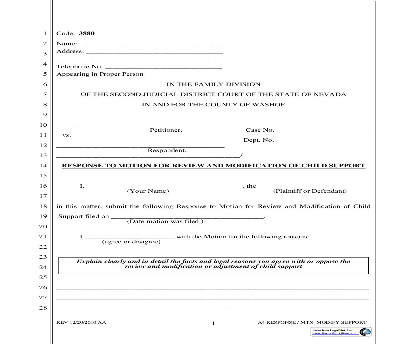 Response To Motion For Review And Modification Of Child Support {3880} | Pdf Fpdf Doc Docx | Nevada