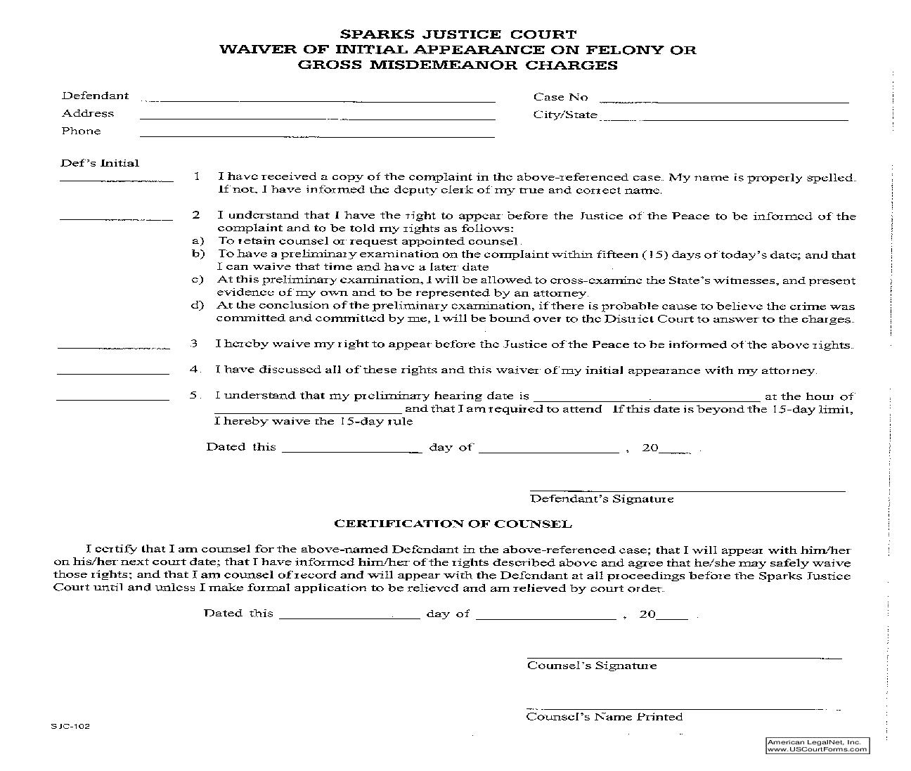 Waiver Of Initial Appearance On Felony Or Gross Misdemeanor Charges | Pdf Fpdf Doc Docx | Nevada