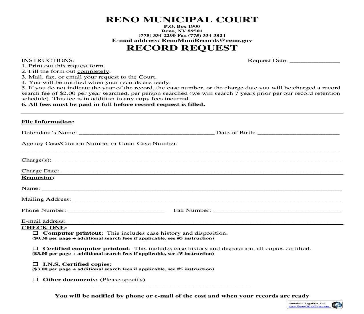 Records Request | Pdf Fpdf Doc Docx | Nevada
