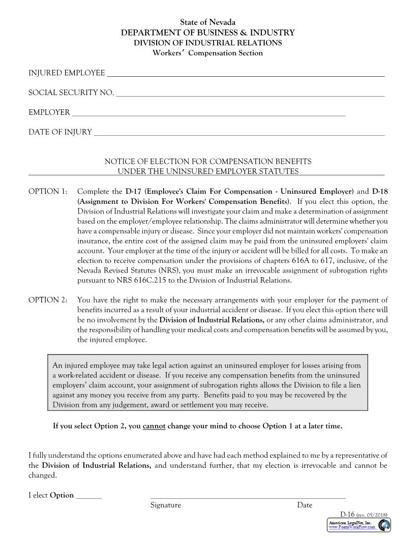 Notice Of Election For Compensation Benefits Under Uninsured Employer Statutes {D-16} | Pdf Fpdf Doc Docx | Nevada