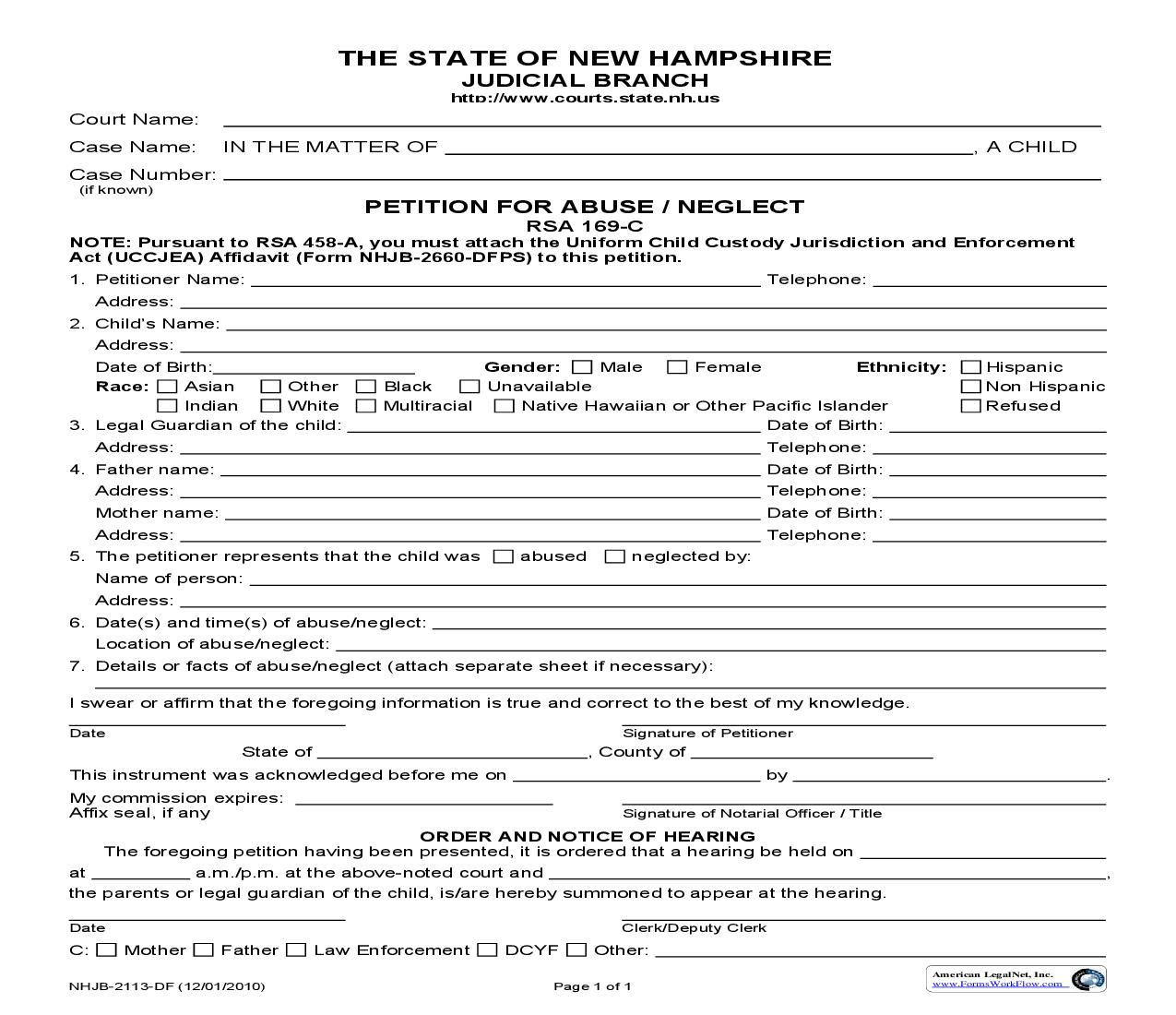 Petition For Abuse Or Neglect {NHJB-2113-DF} | Pdf Fpdf Doc Docx | New Hampshire