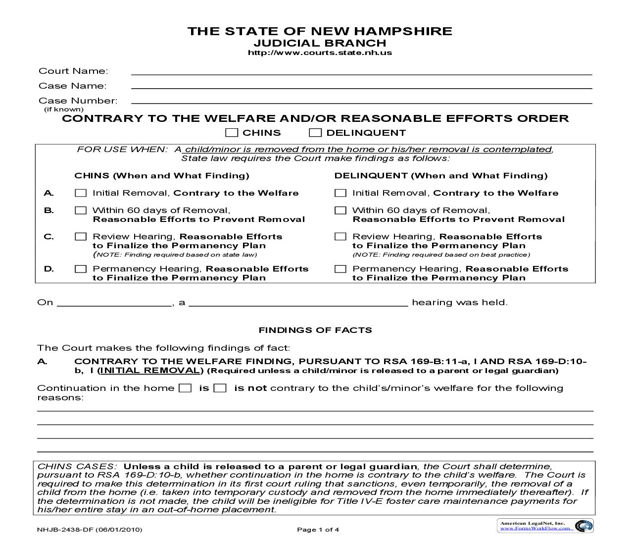 Contrary To The Wellfare And Or Resonable Efforts Order {NHJB-2438-DF}   Pdf Fpdf Doc Docx   New Hampshire