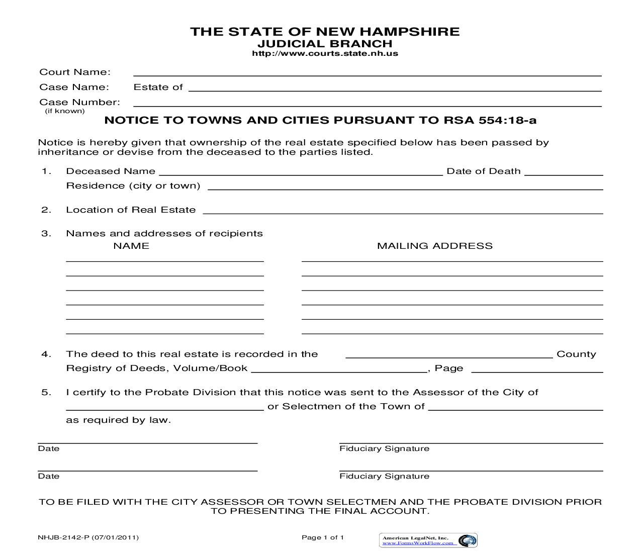 Notice To Towns And Cities Pursuant To RSA 554-18-a {NHJB-2142-P} | Pdf Fpdf Doc Docx | New Hampshire