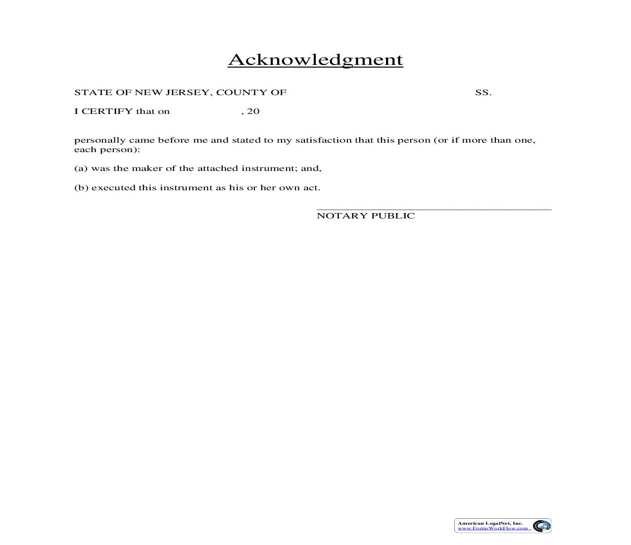 Acknowledgement - Individual | Pdf Fpdf Doc Docx | New Jersey