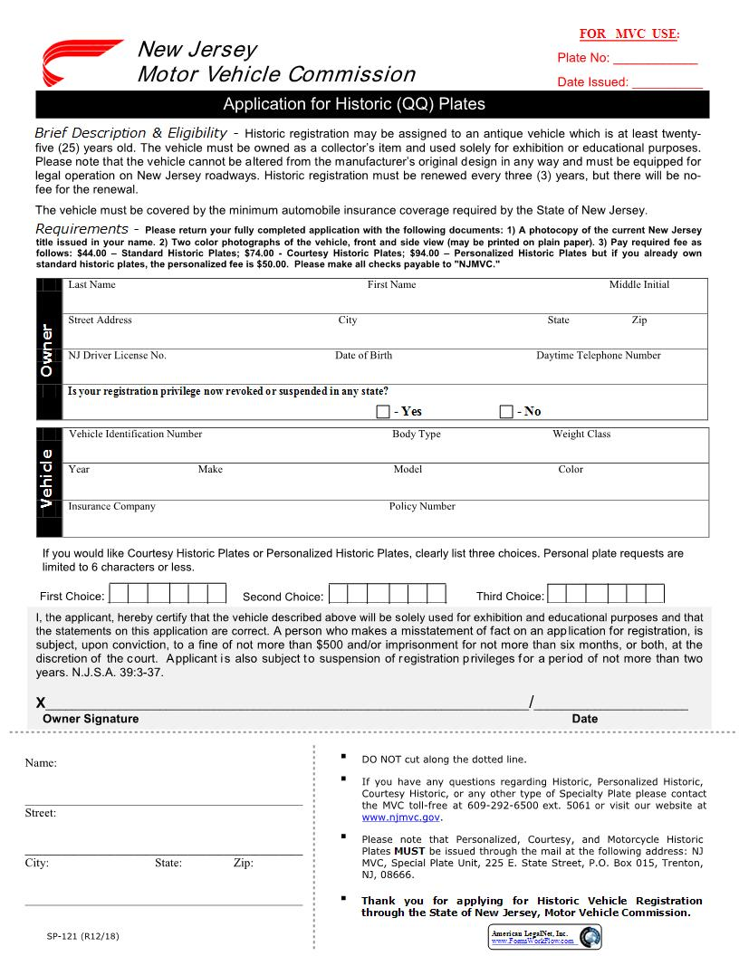 Application for Historic (QQ) Plates {SP-121} | Pdf Fpdf Doc Docx | New Jersey