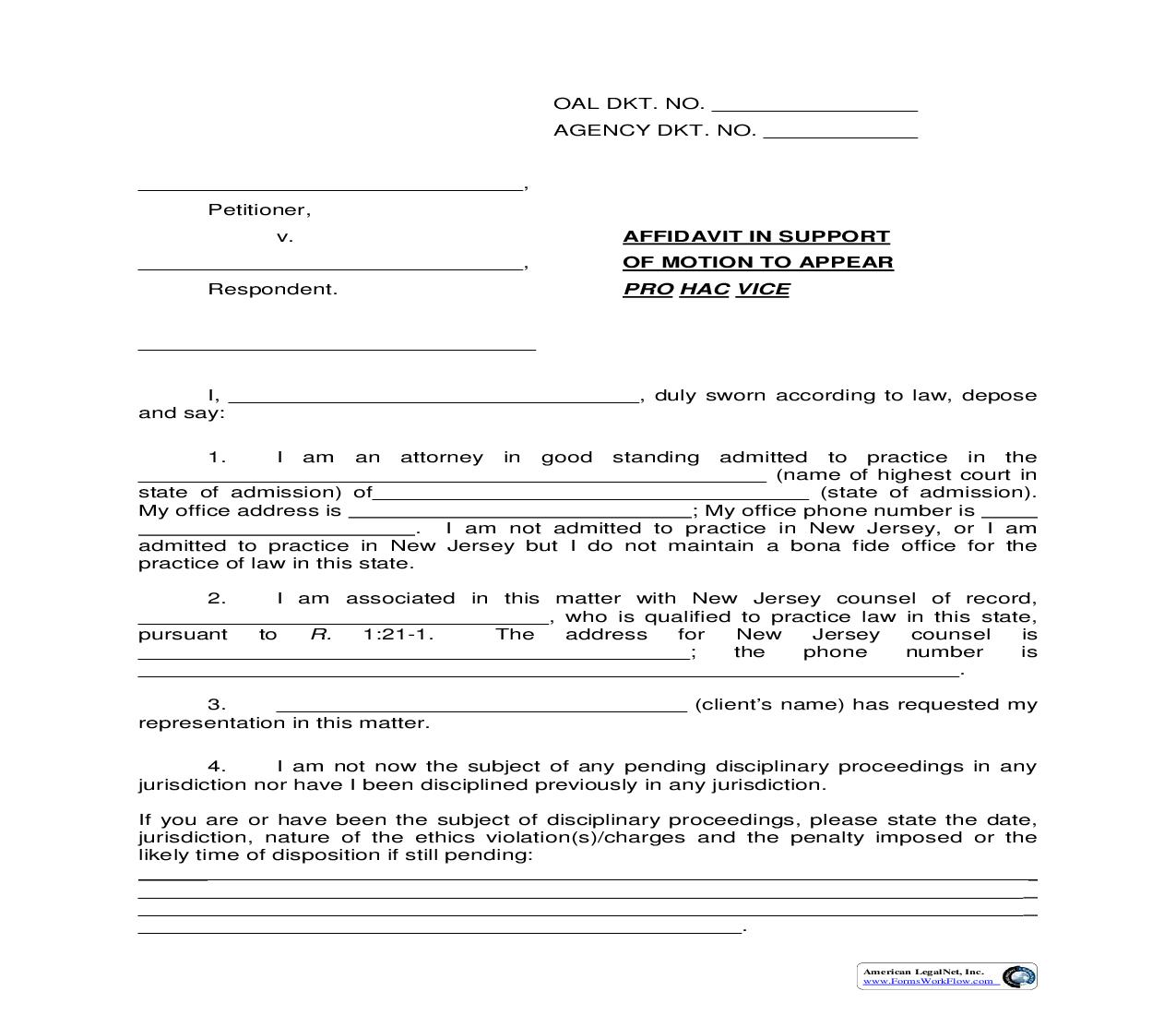 Affidavit In Support Of Motion To Appear Pro Hac Vice   Pdf Fpdf Doc Docx   New Jersey