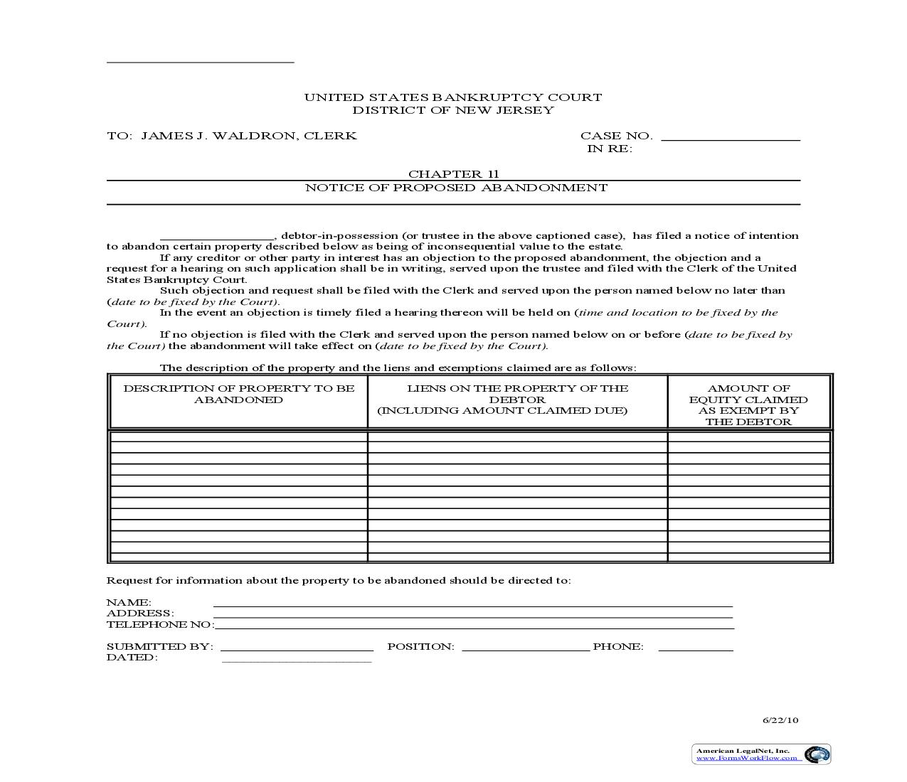 Chapter 11 Notice Of Proposed Abandonment {6} | Pdf Fpdf Doc Docx | New Jersey