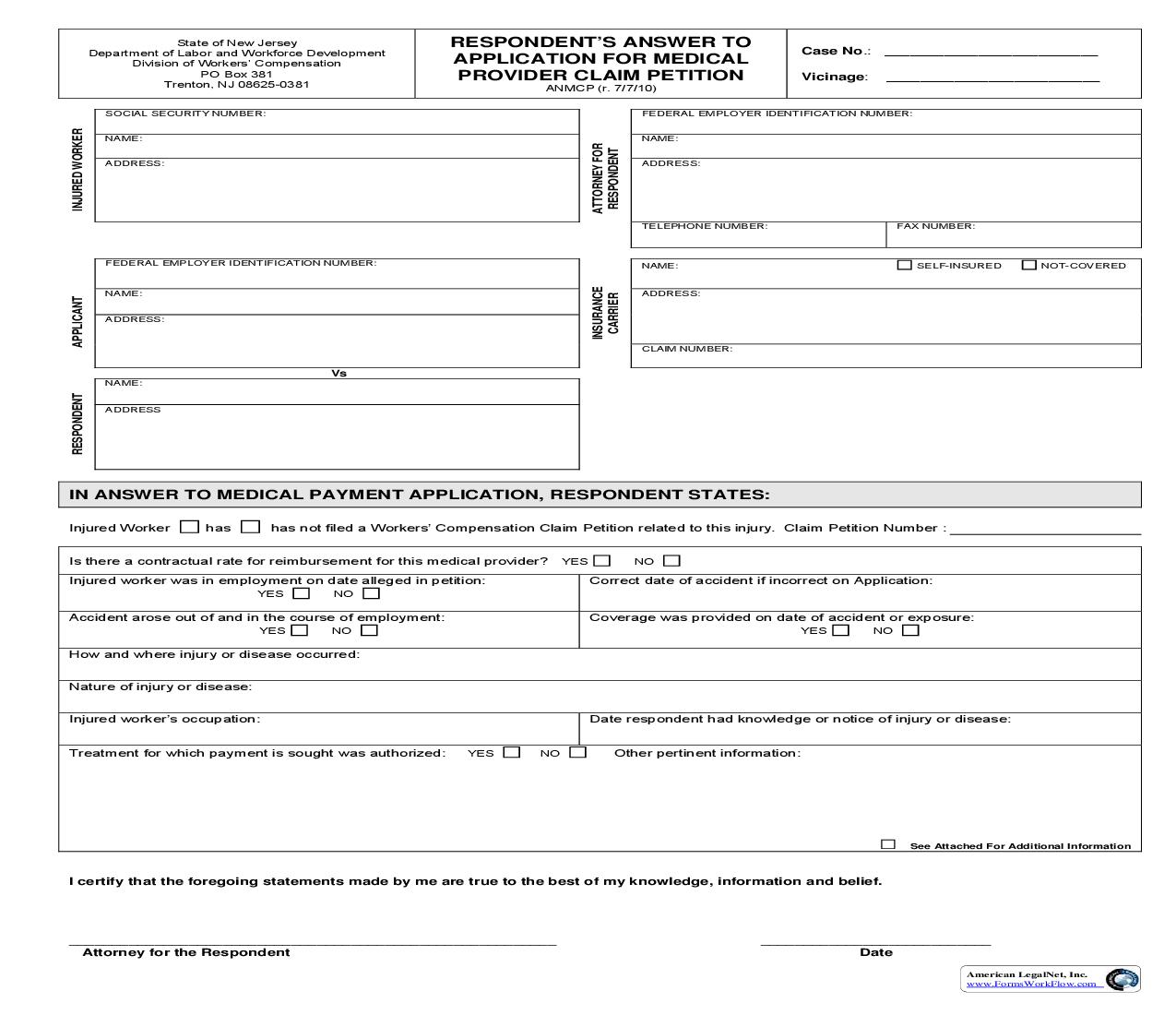 Respondents Answer To Application For Medical Provider Claim Petition {ANMCP} | Pdf Fpdf Doc Docx | New Jersey