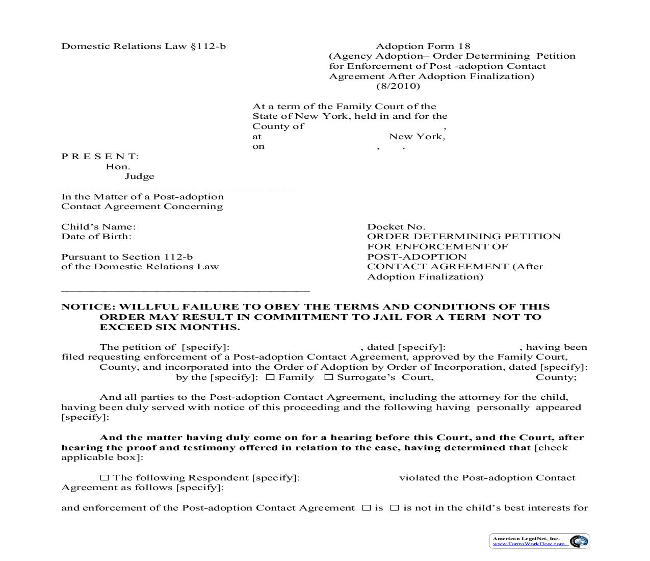 Order Determing Petition For Enforcement Of Post-Adoption Contact Agreement (After Finalization) {18} | Pdf Fpdf Doc Docx | New York