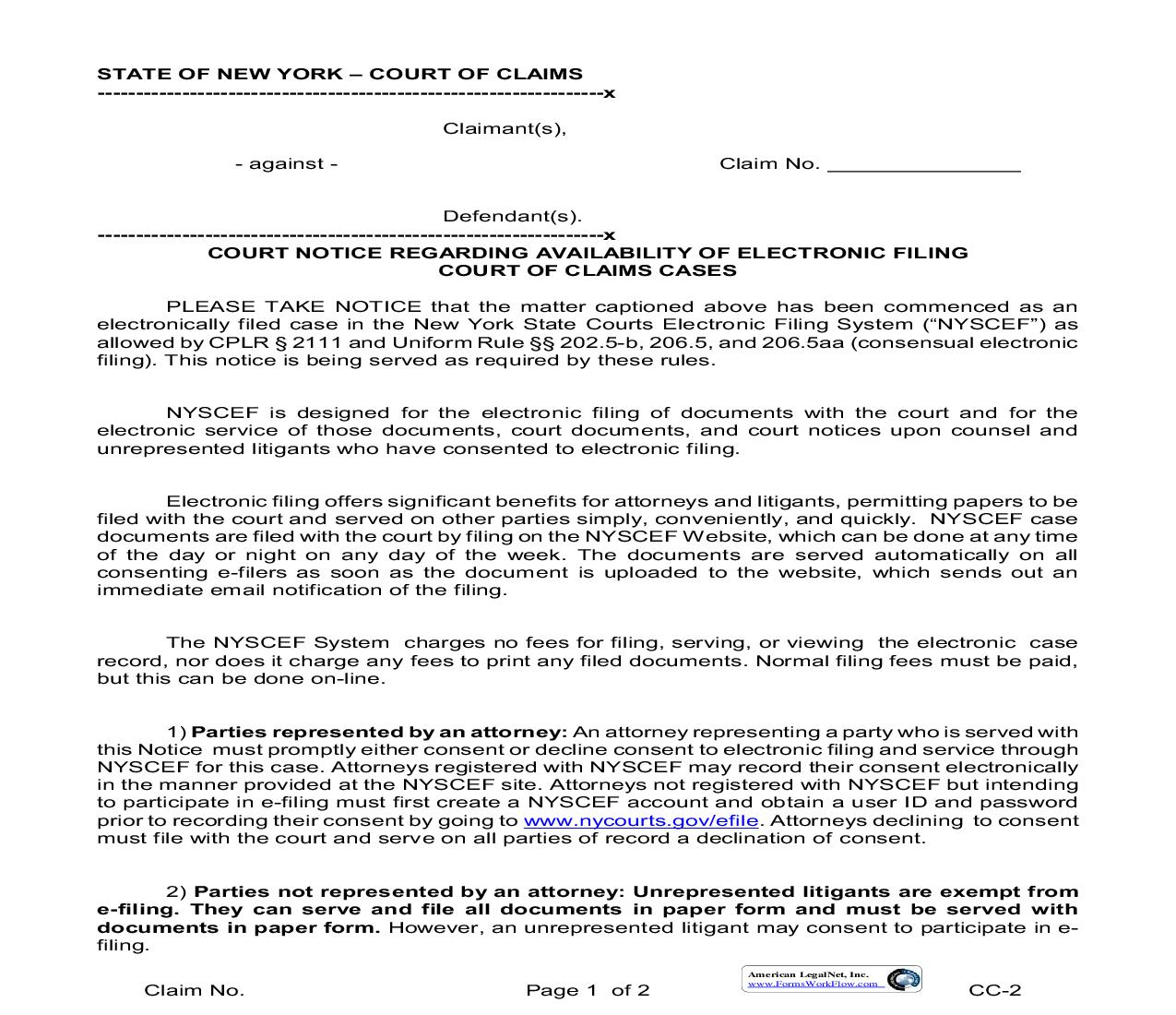 Court Notice Regarding Availability Of Electronic Filing | Pdf Fpdf Doc Docx | New York