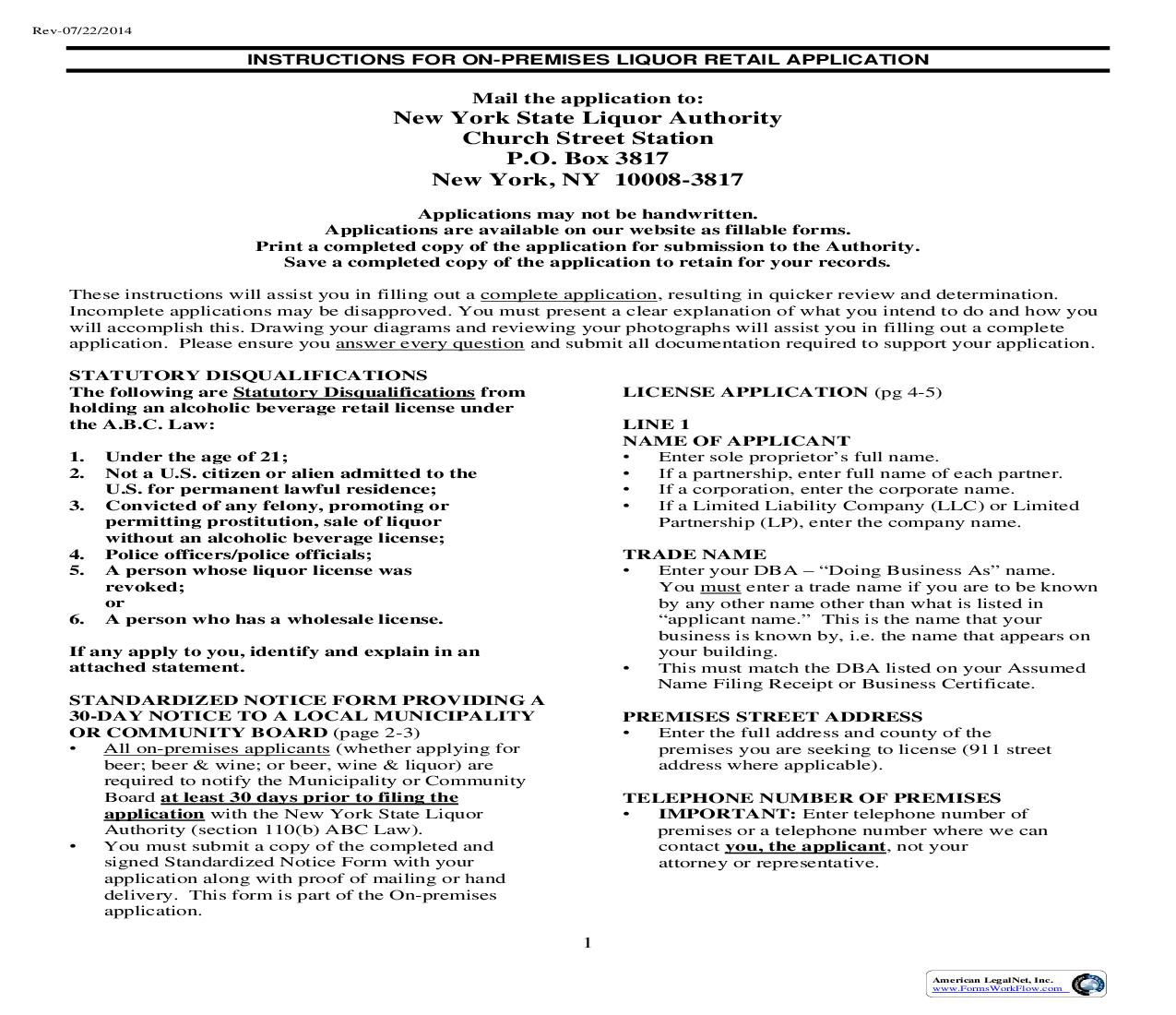 Application For Alcoholic Beverage Control Retail License (On Premises) Instructions |  | New York