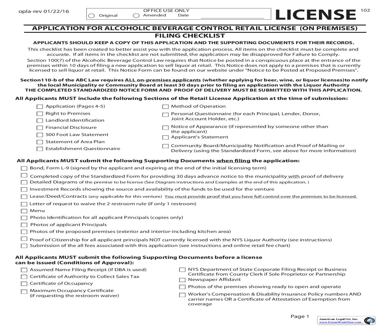 Application For Alcoholic Beverage Control Retail License (On Premises) |  | New York