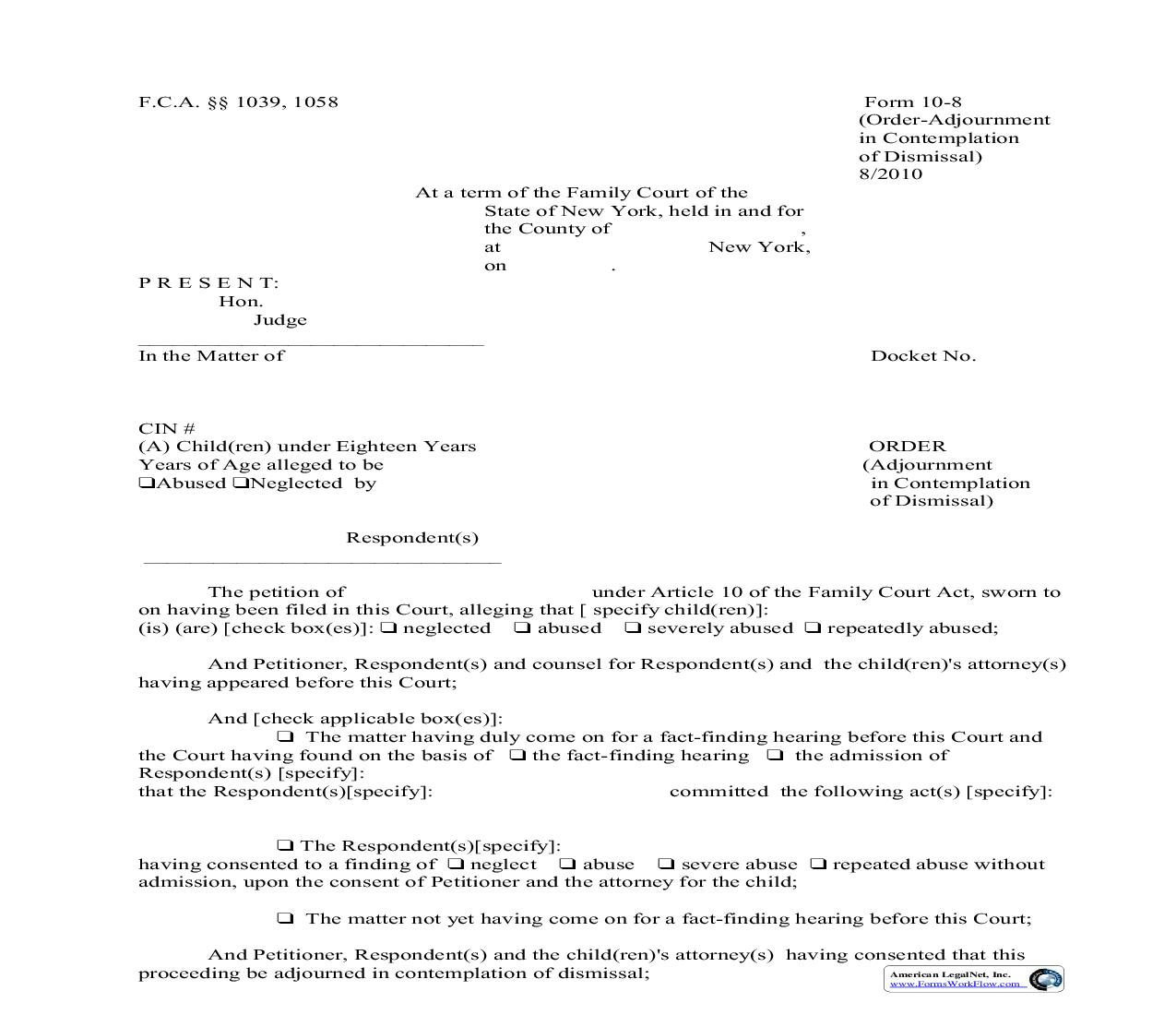Order Adjournment In Contemplation Of Dismissal {10-8} | Pdf Fpdf Doc Docx | New York