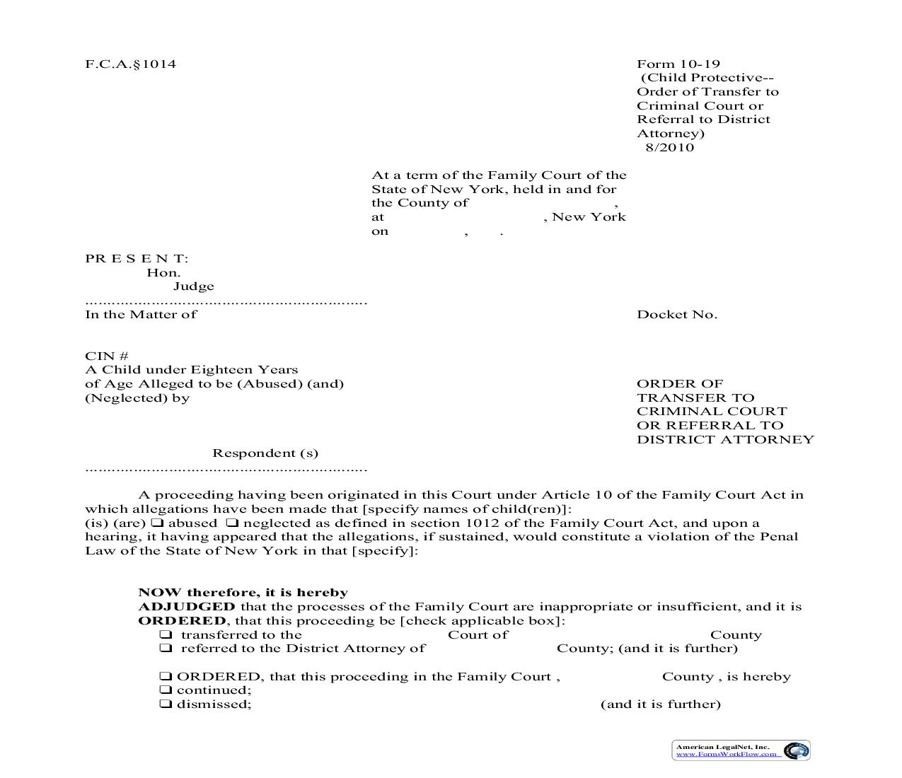 Order Of Transfer To Criminal Court Or Referral To District Attorney {10-19}   Pdf Fpdf Doc Docx   New York