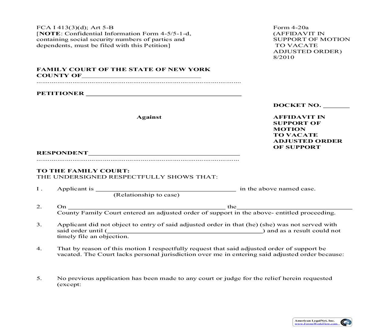 Affidavit In Support Of Motion To Vacate Adjusted Order Of Support {4-20a}   Pdf Fpdf Doc Docx   New York