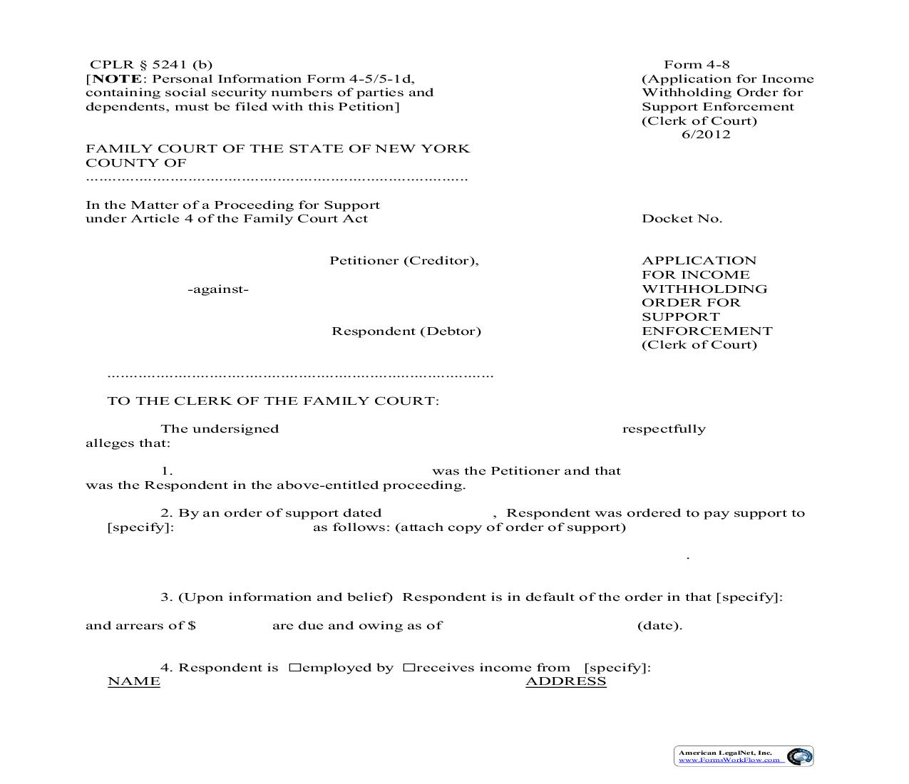 Application For Income Execution For Support Enforcement (Clerk Of Court) {4-8} | Pdf Fpdf Doc Docx | New York