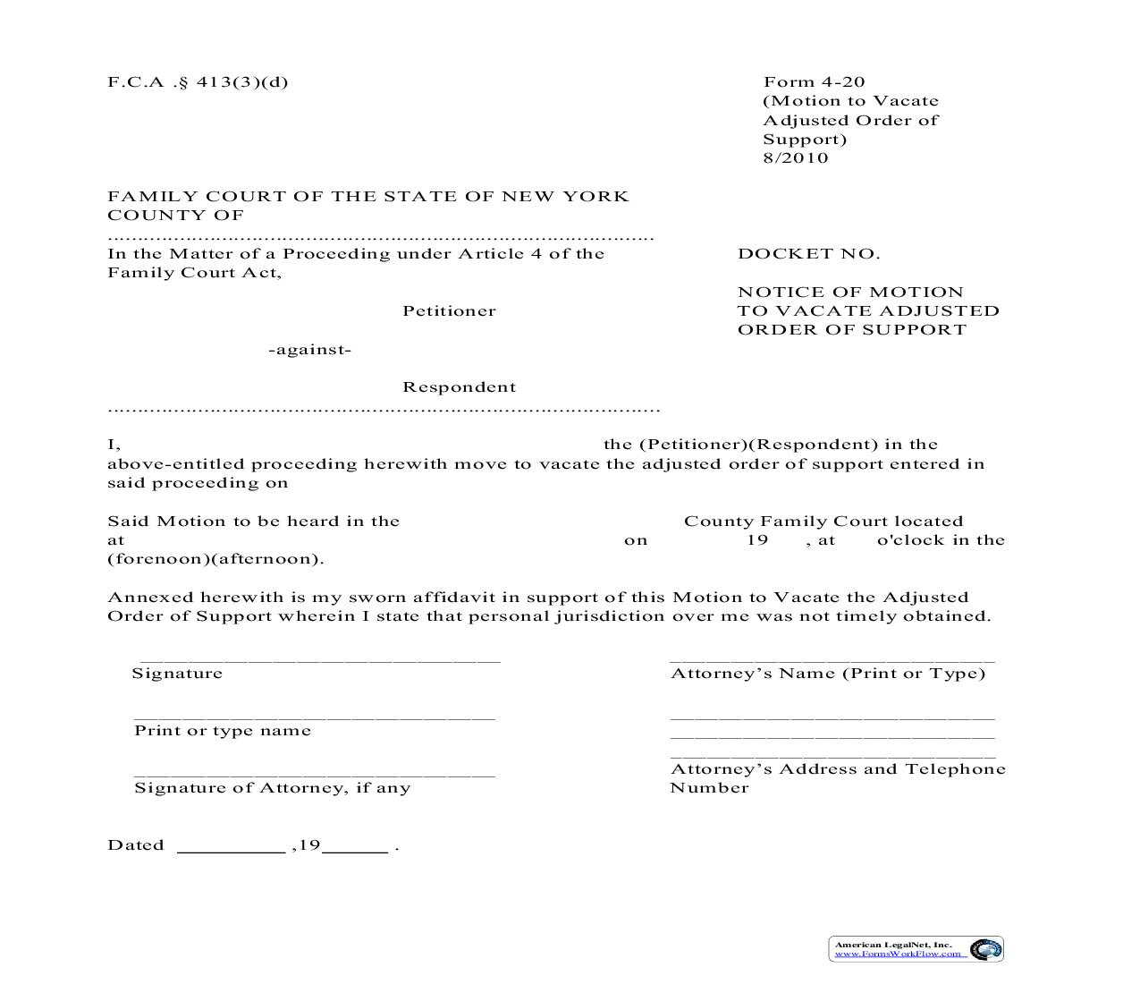 Notice Of Motion To Vacate Adjusted Order Of Support {4-20}   Pdf Fpdf Doc Docx   New York