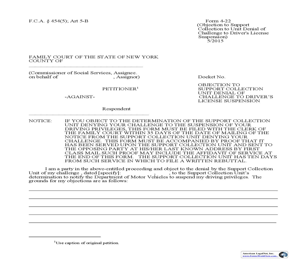 Objection To Support Collection Unit Denial Of Challenge To Drivers License Suspension {4-22} | Pdf Fpdf Doc Docx | New York