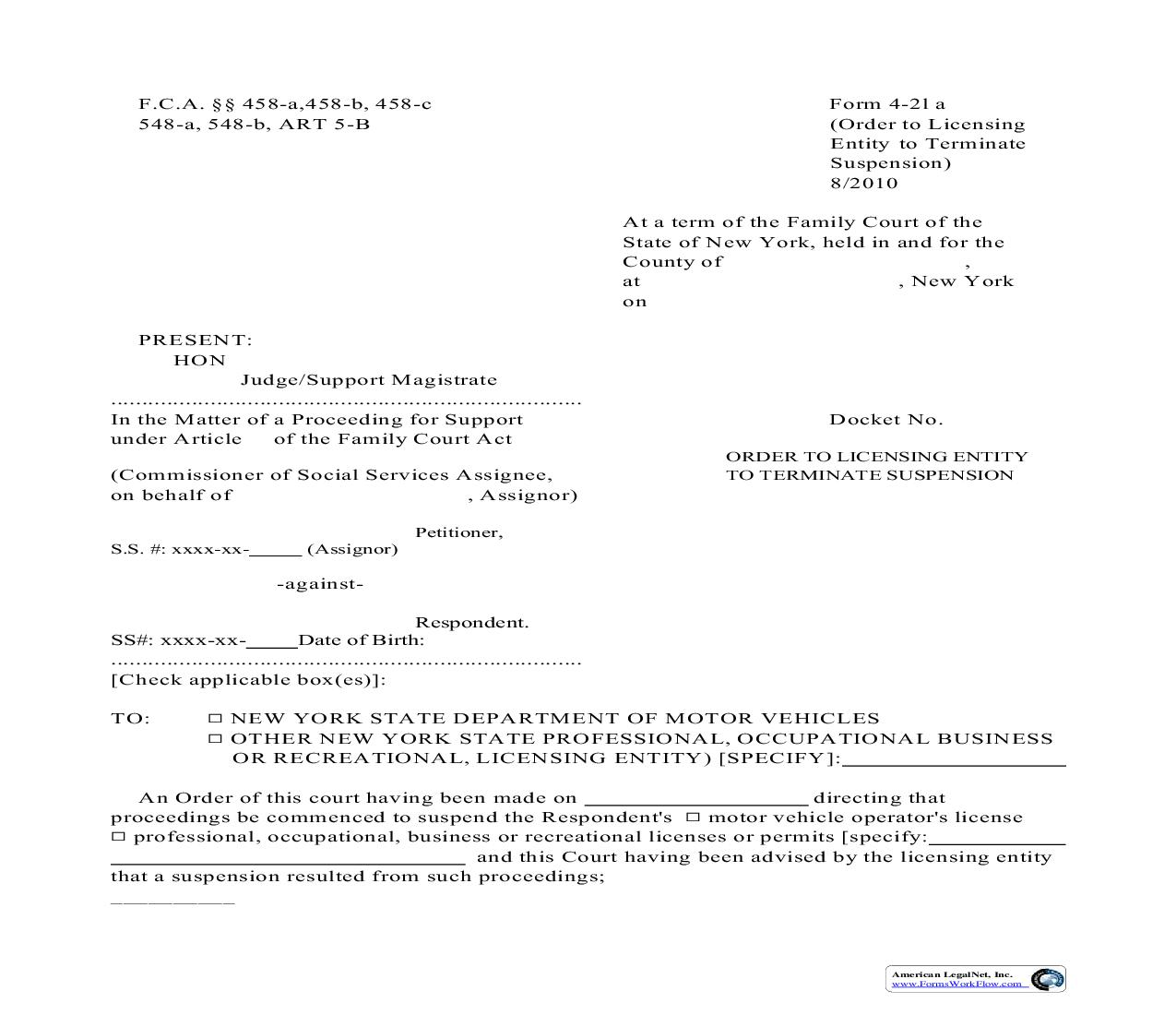 Order To Licensing Entity To Terminate Suspension {4-21a} | Pdf Fpdf Doc Docx | New York