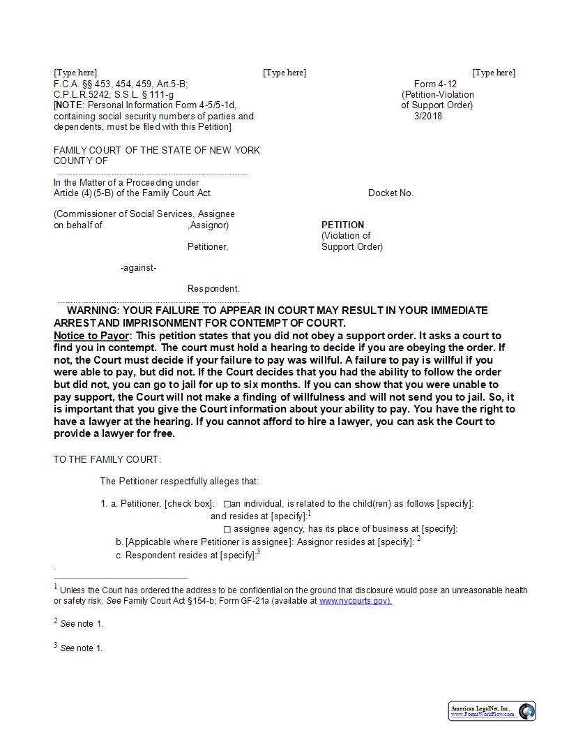 Petition (Violation Of Support Order) {4-12} | Pdf Fpdf Docx | New York