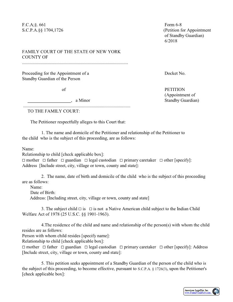 Petition Appointment Of Standby Guardian {6-8} | Pdf Fpdf Docx | New York