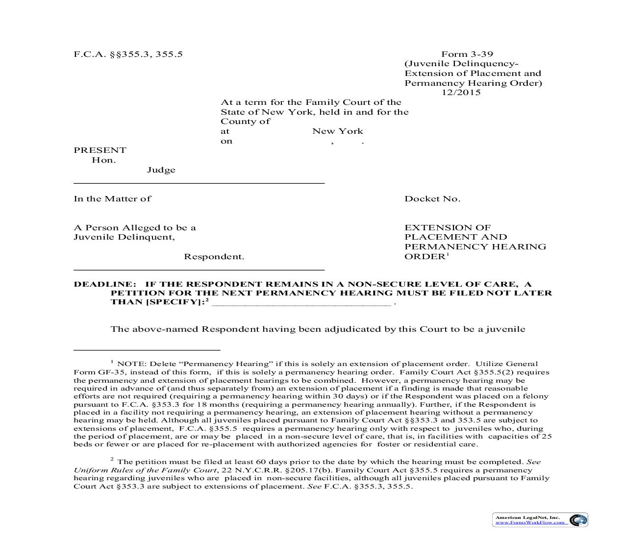 Extension Of Placement And Permanency Hearing Order {3-39} | Pdf Fpdf Doc Docx | New York