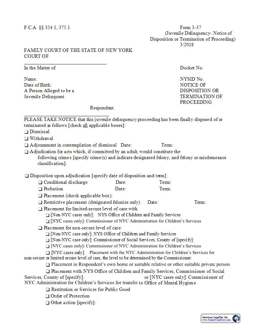 Notice Of Disposition Or Termination Of Proceeding {3-37} | Pdf Fpdf Docx | New York