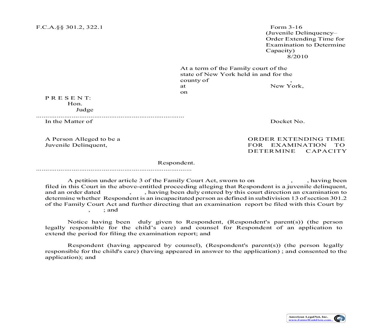 Order Extending Time For Examination To Determine Capacity {3-16} | Pdf Fpdf Doc Docx | New York