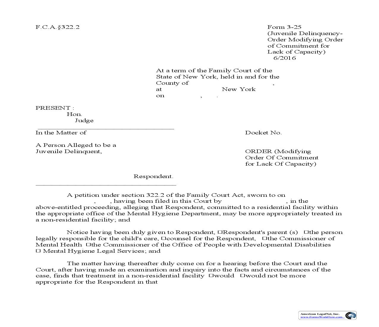 Order Modifying Order Of Commitment For Lack Of Capacity {3-25} | Pdf Fpdf Doc Docx | New York
