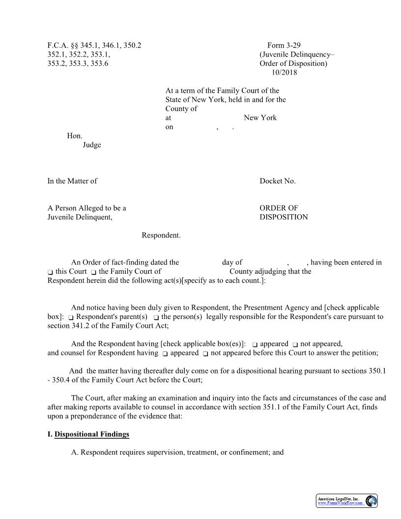Order Of Disposition {3-29} | Pdf Fpdf Docx | New York