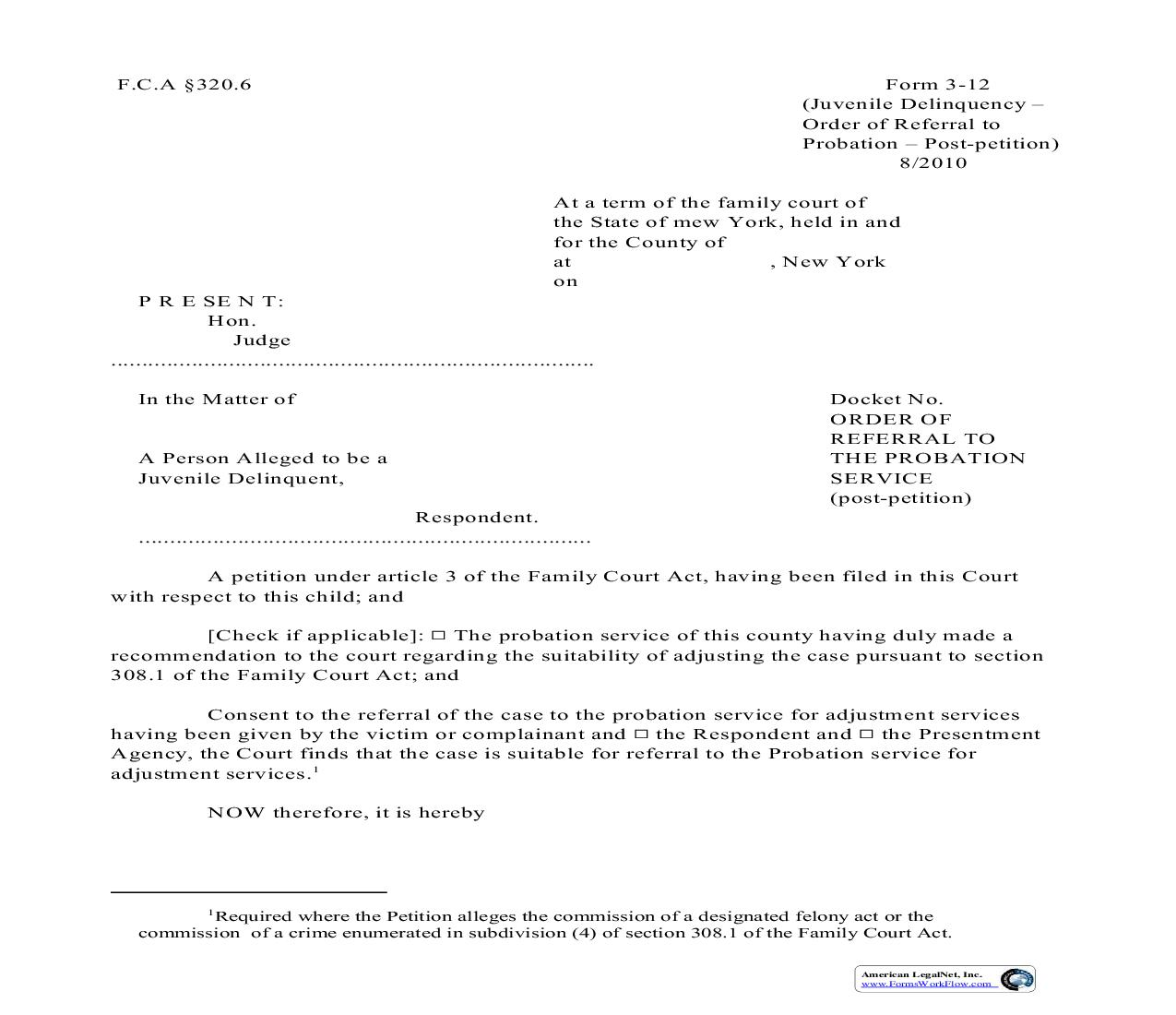Order Of Referral To The Probation Service Post Petition {3-12} | Pdf Fpdf Doc Docx | New York