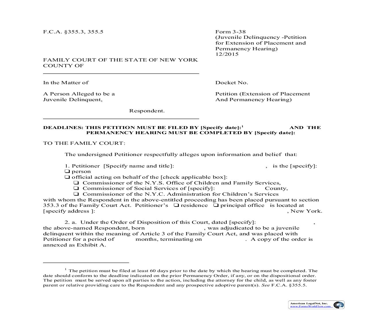 Petition Extension Of Placement And Permanency Hearing {3-38} | Pdf Fpdf Doc Docx | New York