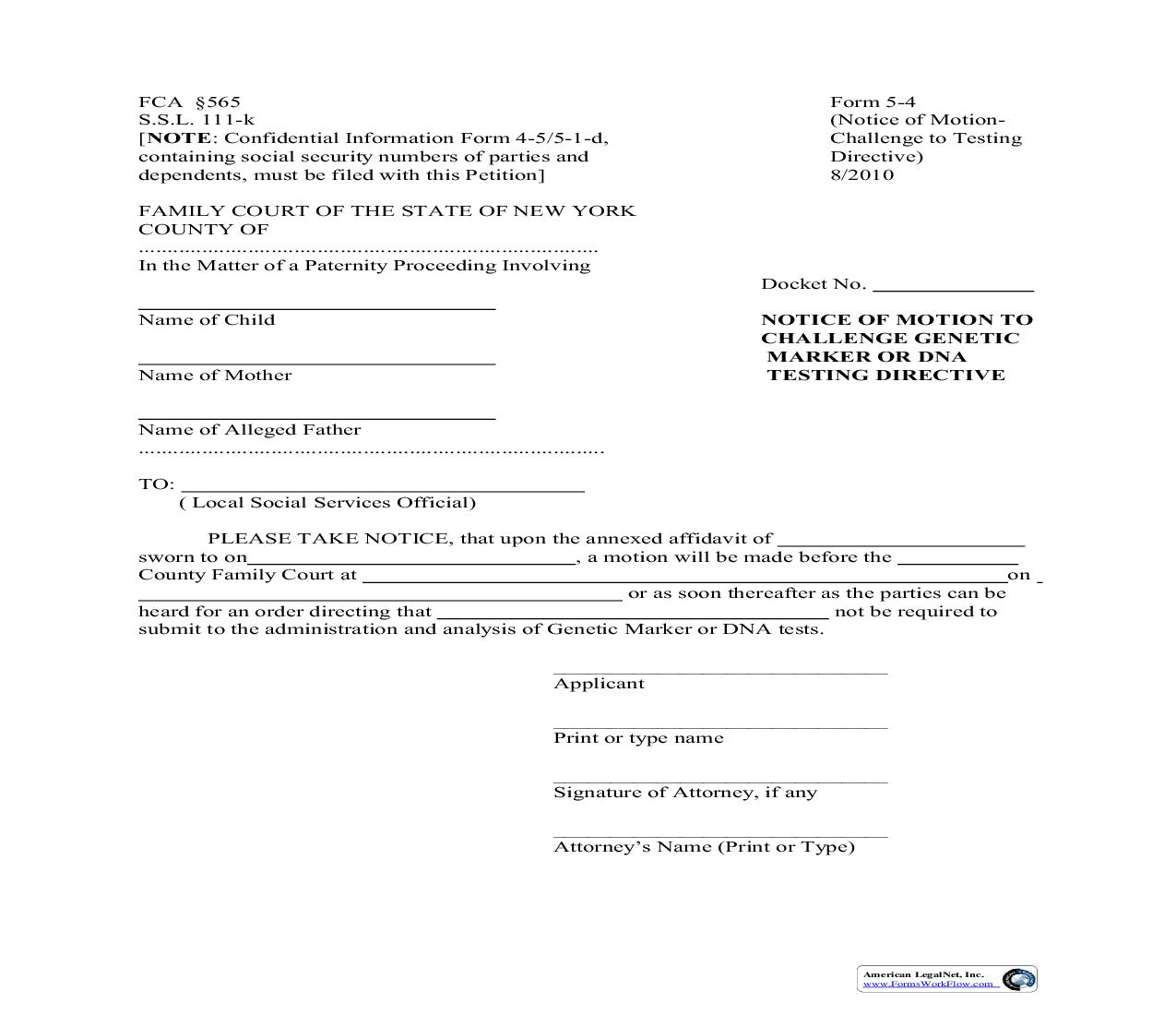 Notice Of Motion To Challenge Genetic Marker Or DNA Testing Directive {5-4} | Pdf Fpdf Doc Docx | New York
