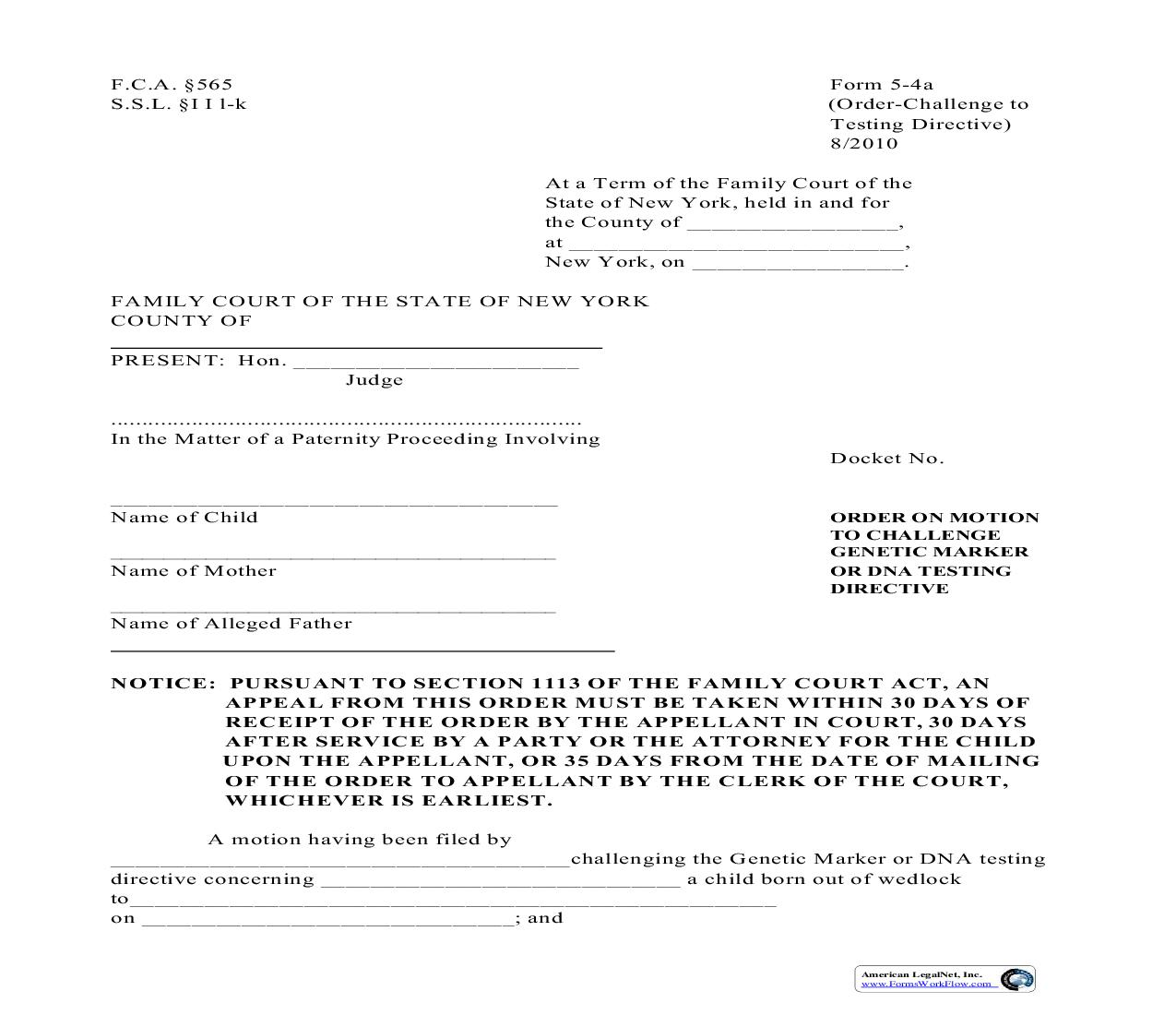 Order On Motion To Challenge Genetic Marker Or DNA Testing Directive {5-4a} | Pdf Fpdf Doc Docx | New York