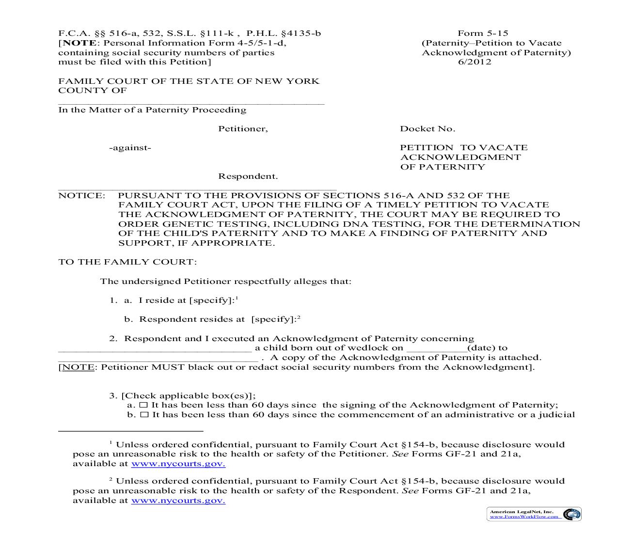 Petition To Vacate Acknowledgement Of Paternity {5-15}   Pdf Fpdf Doc Docx   New York