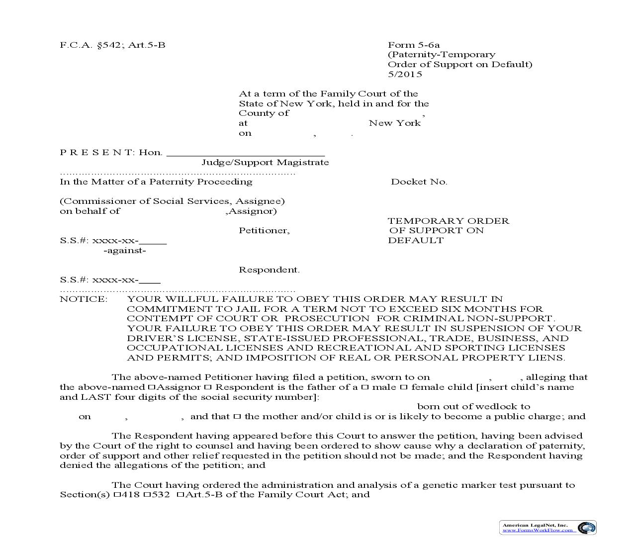 Temporary Order Of Support On Default {5-6a} | Pdf Fpdf Doc Docx | New York