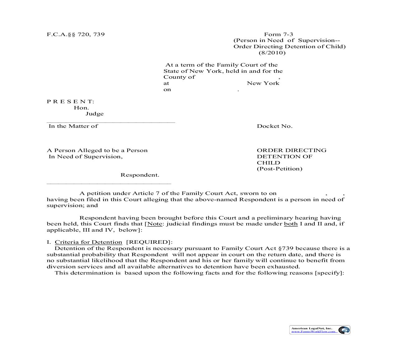 Order Directing Detention Of Child Post Petition {7-3}   Pdf Fpdf Doc Docx   New York
