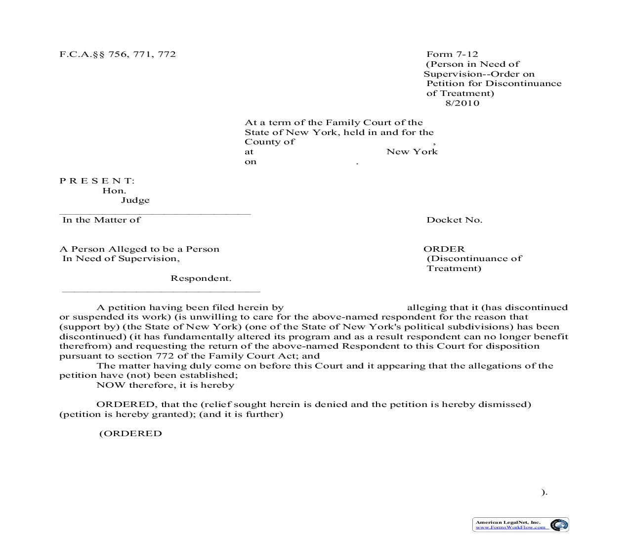Order Discontinuance Of Treatment {7-12} | Pdf Fpdf Doc Docx | New York