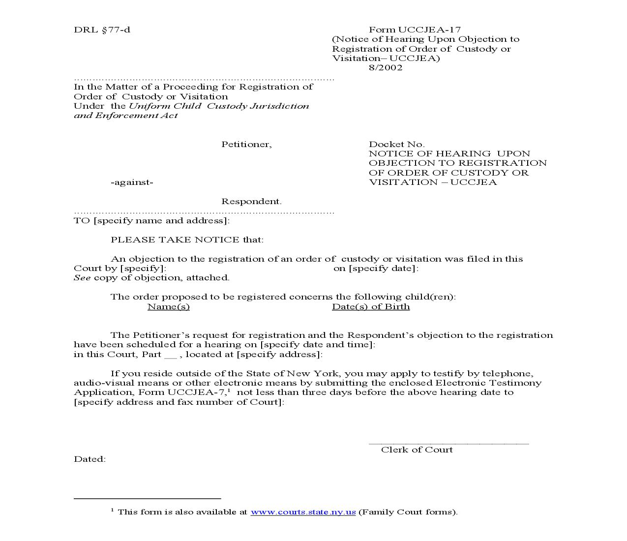 Notice Of Hearing Upon Objection To Registration Of Order Of Custody Or Visitation {UCCJEA-17}   Pdf Fpdf Doc Docx   New York