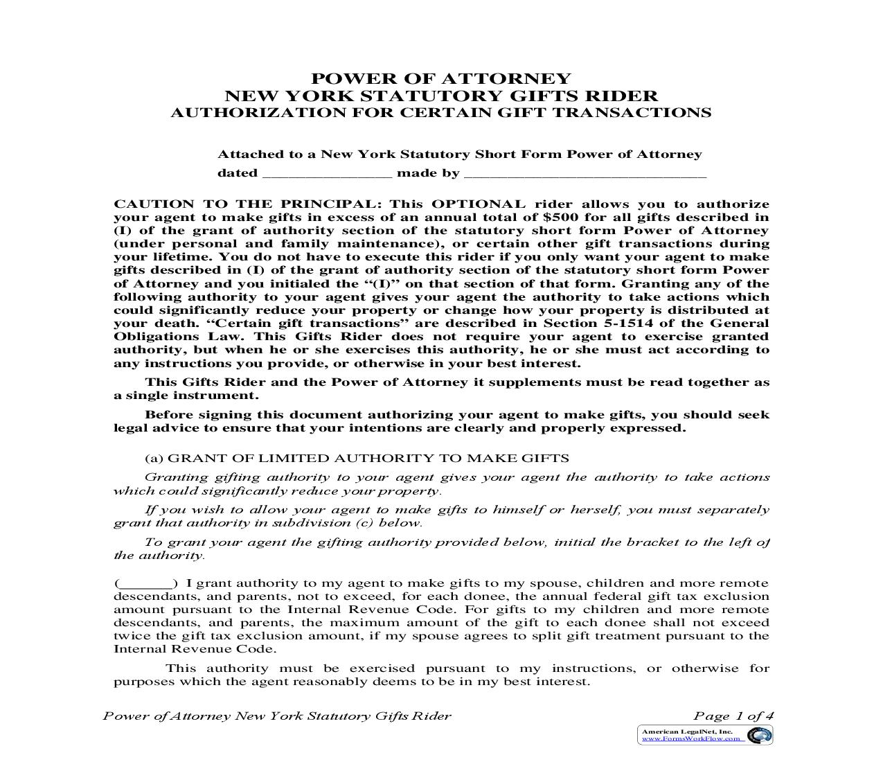 Power Of Attorney New York Statutory Gifts Rider (With Acknowledgments) (effective 9-12-10)   Pdf Fpdf Doc Docx   New York