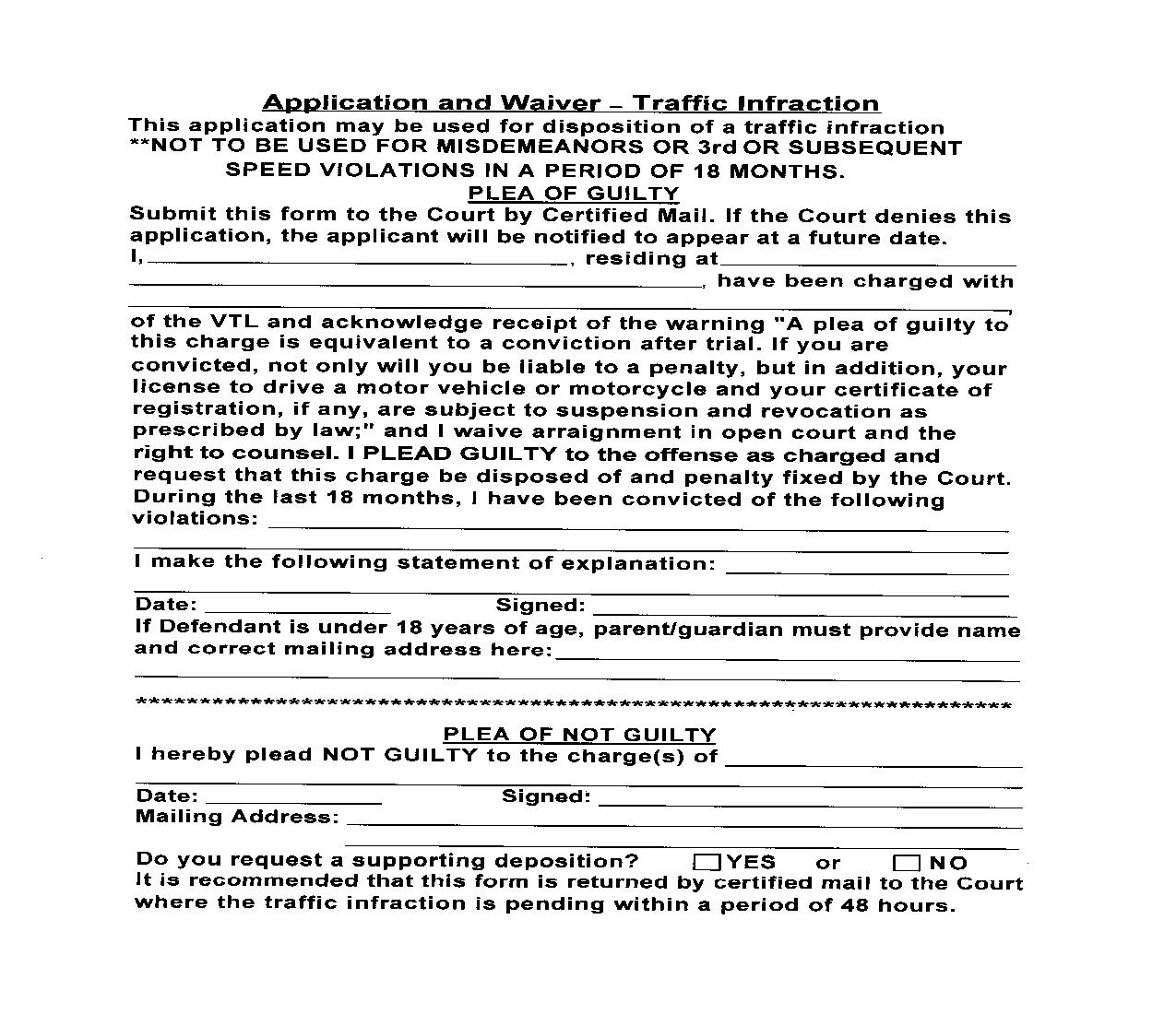 Application And Waiver - Traffic Infraction | Pdf Fpdf Doc Docx | New York