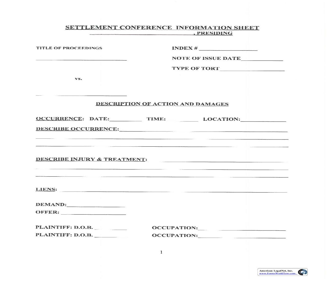 Settlement Conference Information Sheet | Pdf Fpdf Doc Docx | New York