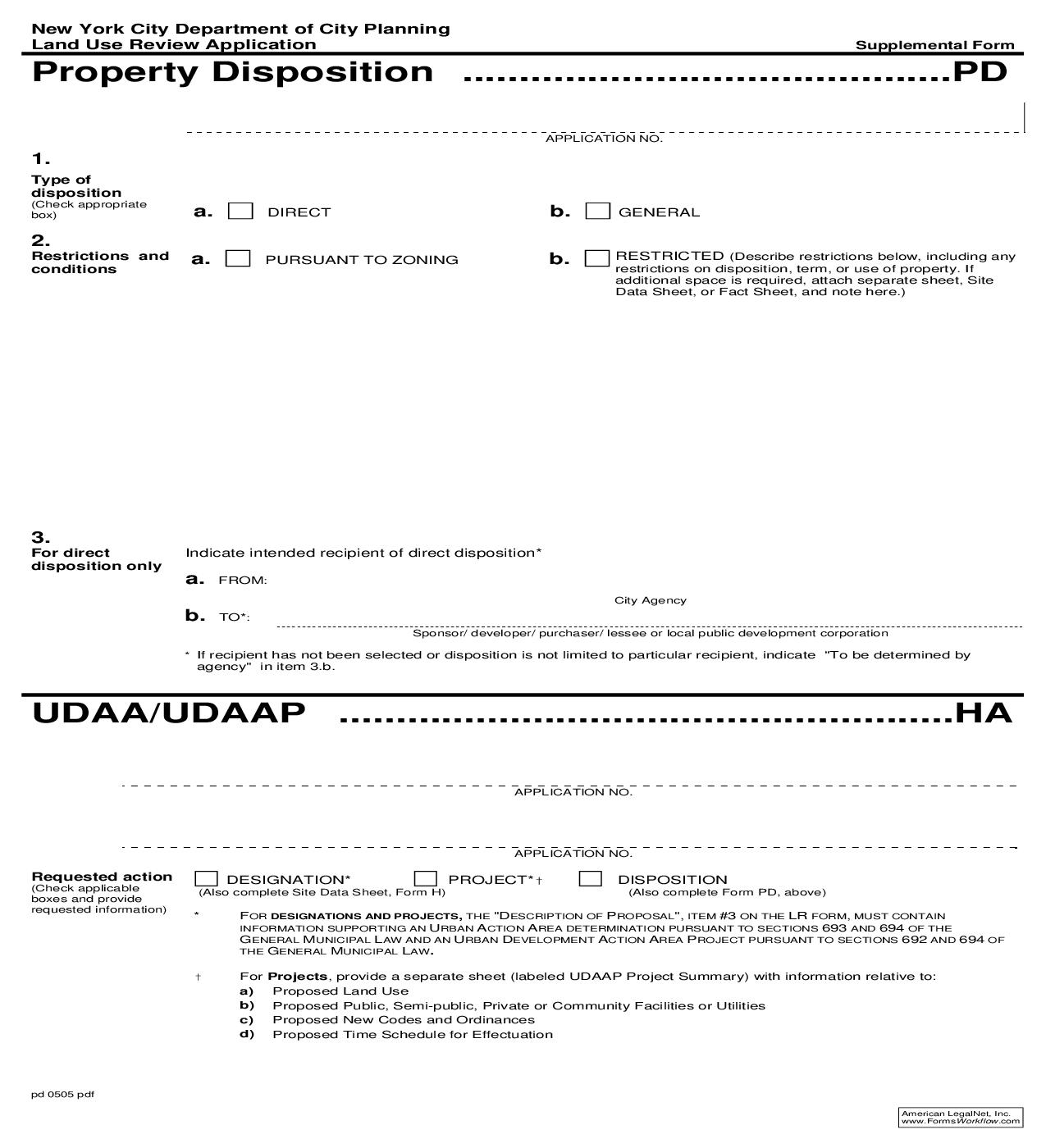Land Use Review Application Supplemental Form PD {PD} | Pdf Fpdf Doc Docx | New York