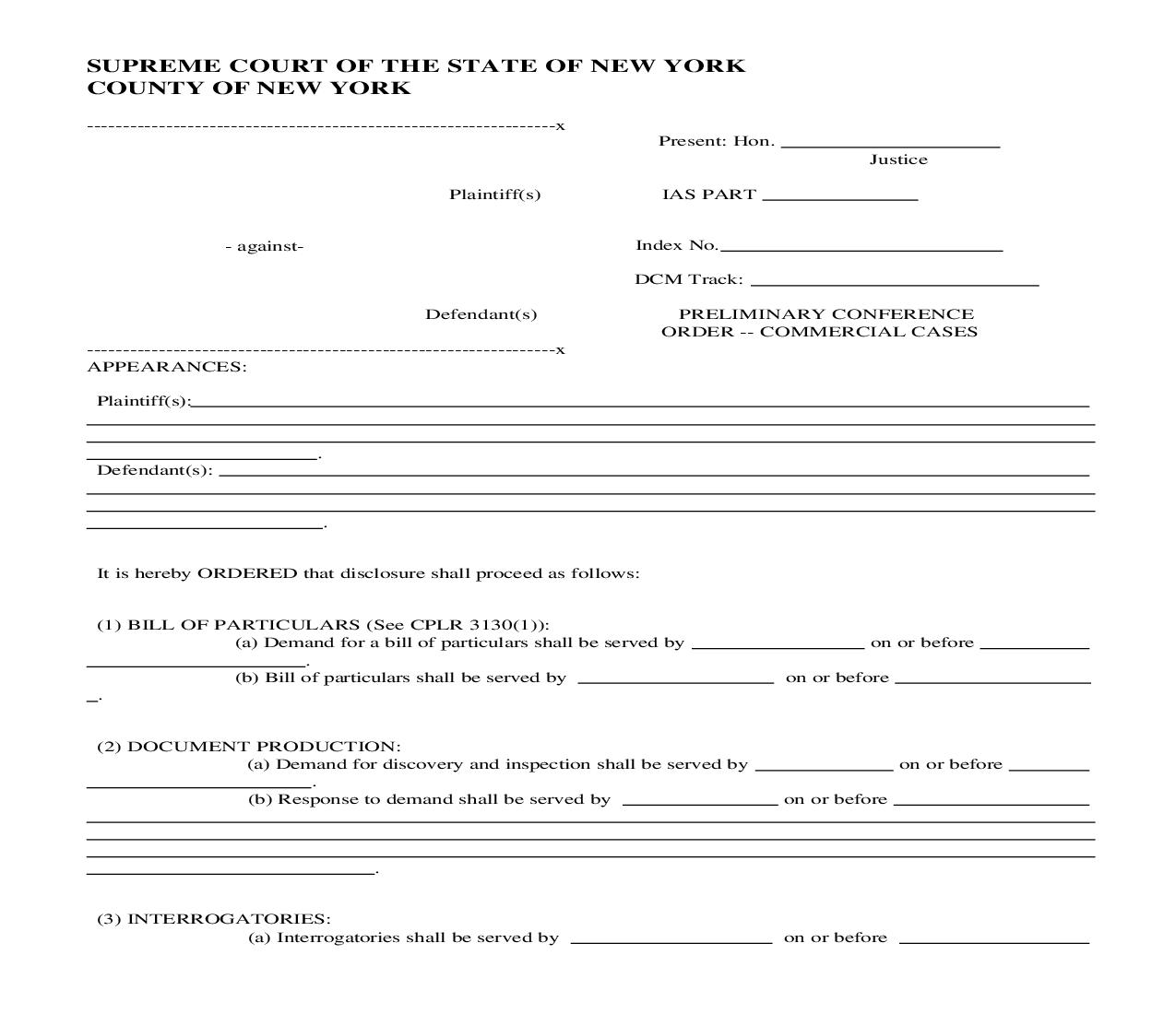 Preliminary Conference Order Commercial Cases | Pdf Fpdf Doc Docx | New York