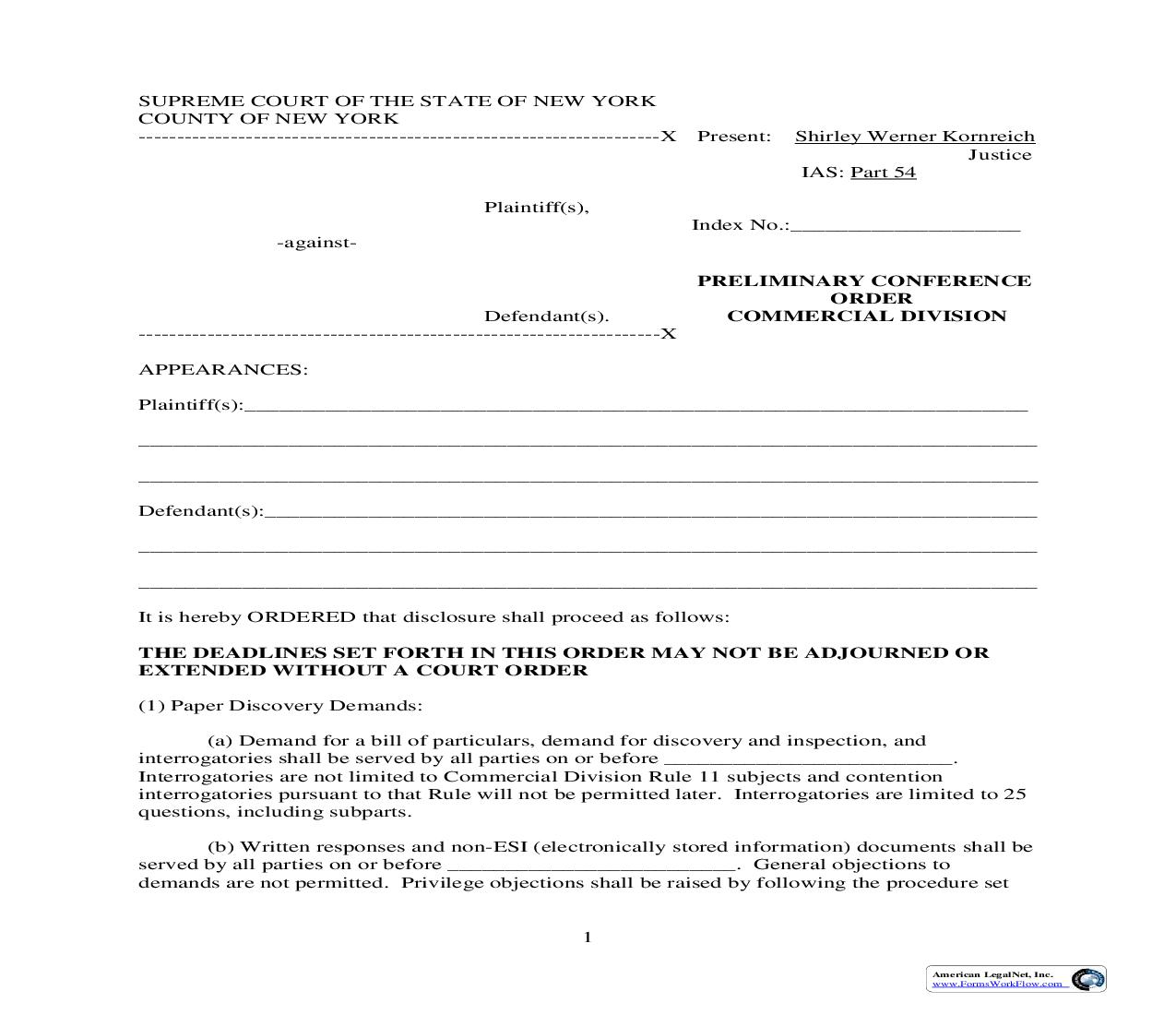 Preliminary Conference Order (Part 54) | Pdf Fpdf Doc Docx | New York