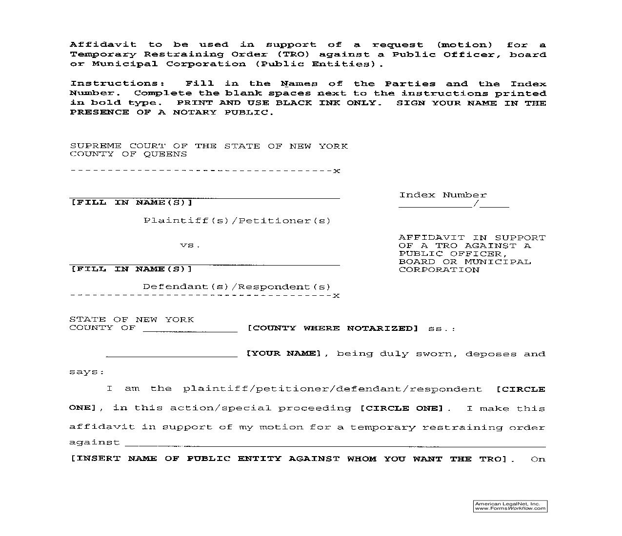 Affidavit In Support Of TRO Against Public Officer-Board-Municipal Corporation | Pdf Fpdf Doc Docx | New York