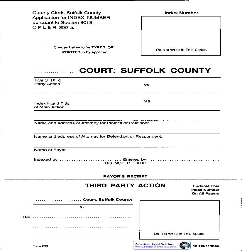 Application For Index Number (Third Party Action) | Pdf Fpdf Doc Docx | New York