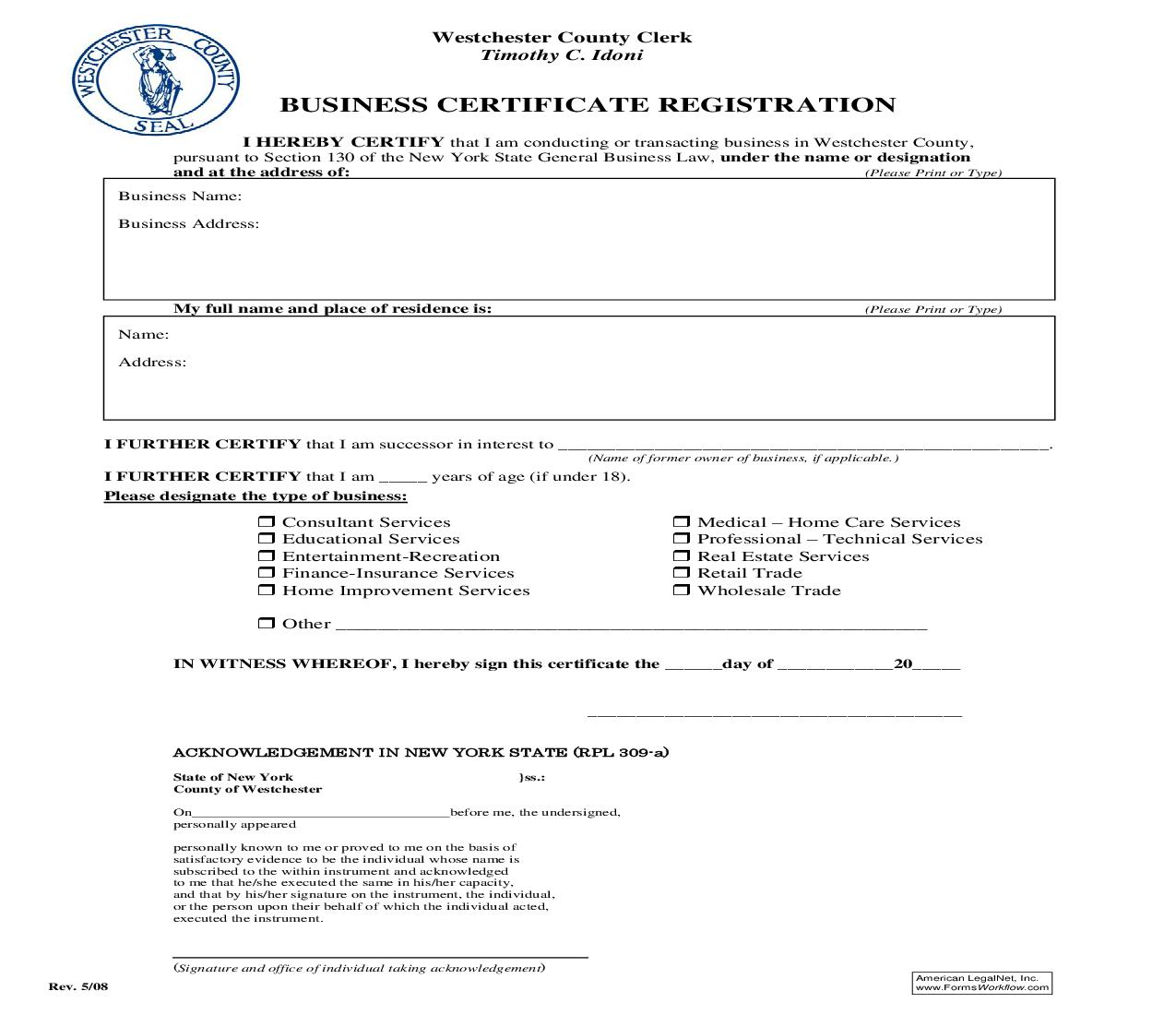 Business Certificate Registration | Pdf Fpdf Doc Docx | New York