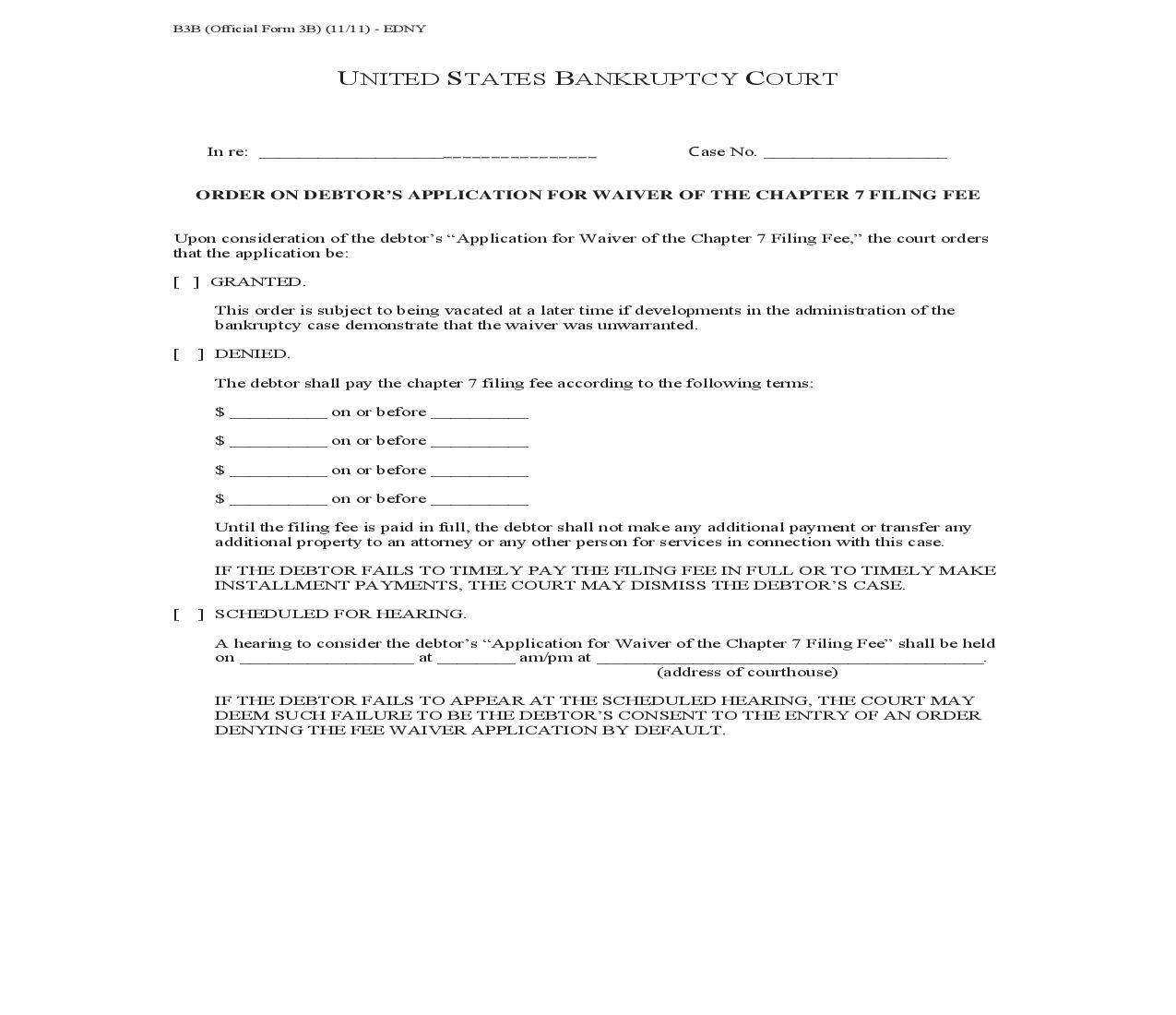 Order On Debtors Application For Waiver Of Chapter 7 Filing Fee (NYEB) | Pdf Fpdf Doc Docx | New York