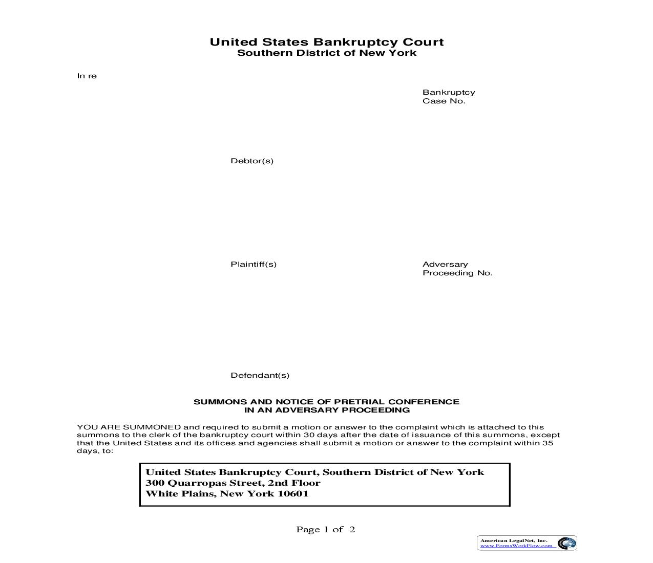 Summons And Notice Of Pretrial Conference In An Adversarial Proceeding (White Plains) | Pdf Fpdf Doc Docx | New York